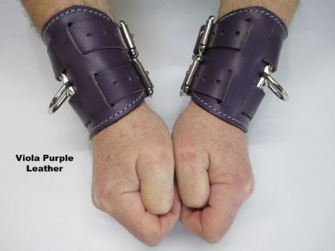 Pair of Double Strap Fasten Leather Restraint Cuffs/Bracers